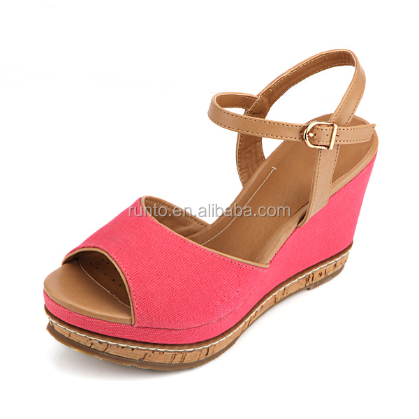 2016 Fashion solf insole wedge sandals summer pink sandals women shoes,PU imitation wood bottom plus TPR bottom