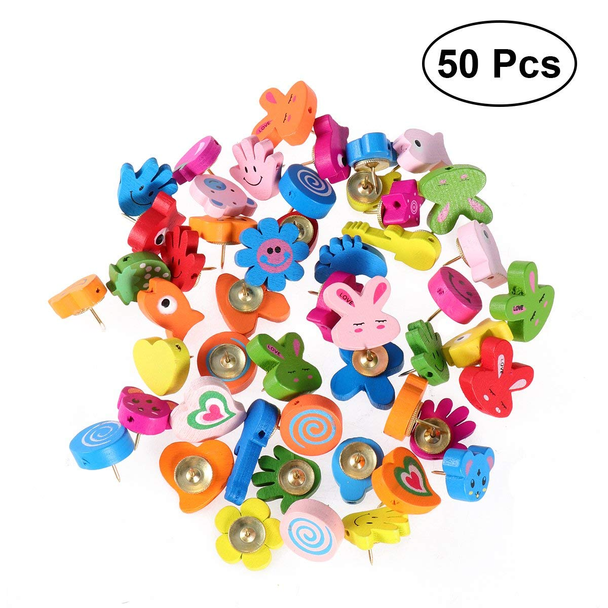 NUOLUX 50 PCS Push Pins, Wooden Bulletin Board Borders Pushpins, Lovely Cartoon Shape Thumb Tacks, Thumbtacks Decorative for Corkboard Office School Home Supplies (Random Color and Pattern)