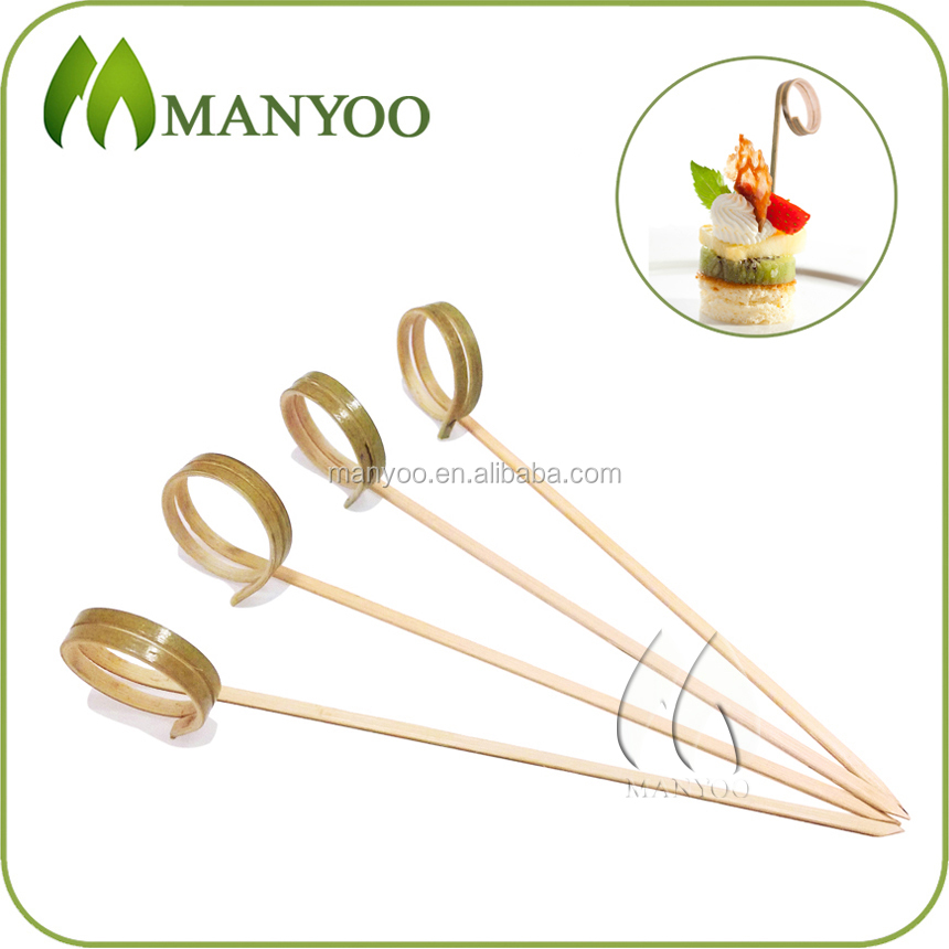 Hot selling food decoration bamboo finger ring sticks