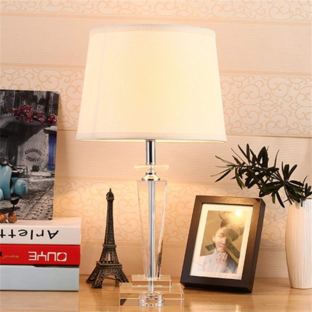 WENBO HOME- Modern And Simple Crystal Table Lamp, Fabric Shade, Decorative Lamp Bedroom Living Room -Desktop lamp