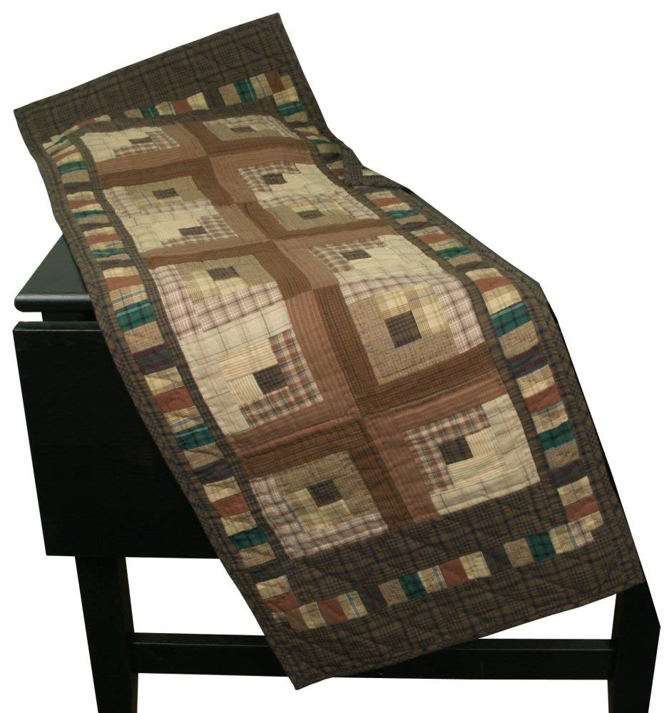 """Country Log Cabin Table Runner Quilt 50"""" Long By 17"""" Wide 100% Cotton Handmade Hand Quilted Heirloom Quality"""