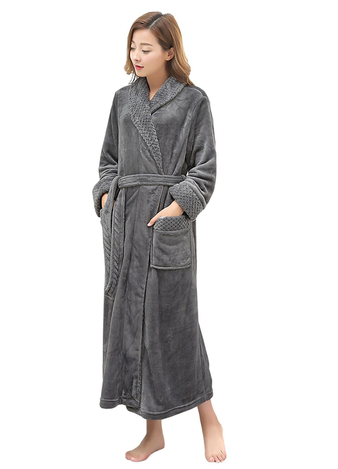 Get Quotations · Long Bath Robe for Womens Plush Soft Fleece Bathrobes  Night Robes Dressing Gown 3e9ee9505