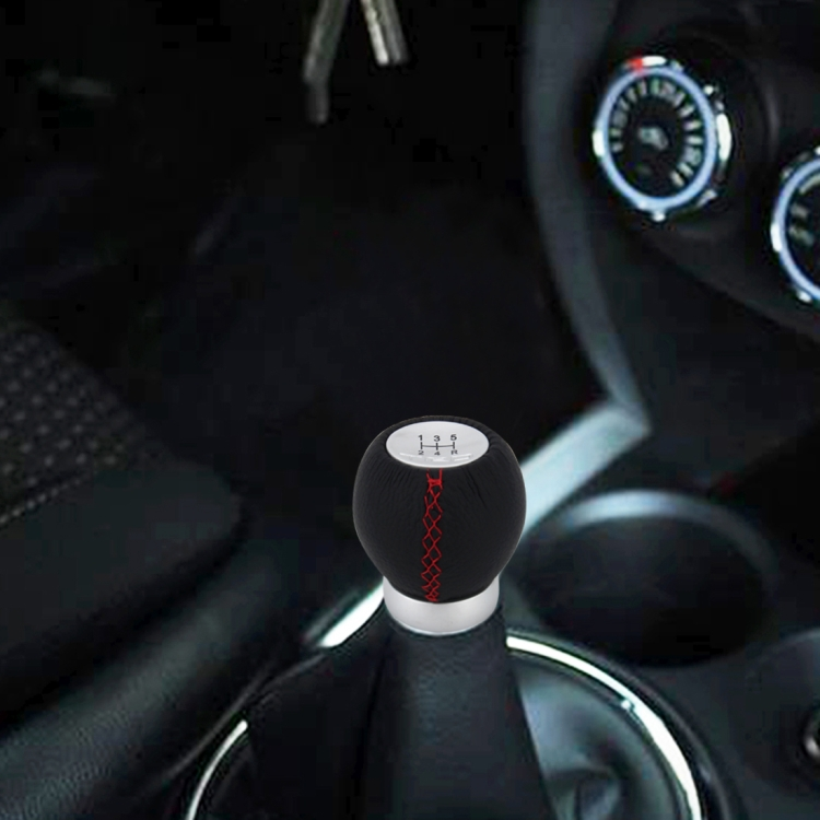 Venda quente no alibaba Universal Car Modificado Shifter Alavanca De Couro Preto Manual 5-Speed ​​Gear Shift Knob Adaptador