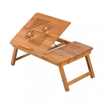 Foldable Bamboo Wood Laptop Stand Notebook Desk Table With Drawer Adjule Cooling Bed And Legs