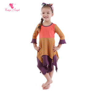 3/4 sleeve girl daily wear dress children dresses with dot