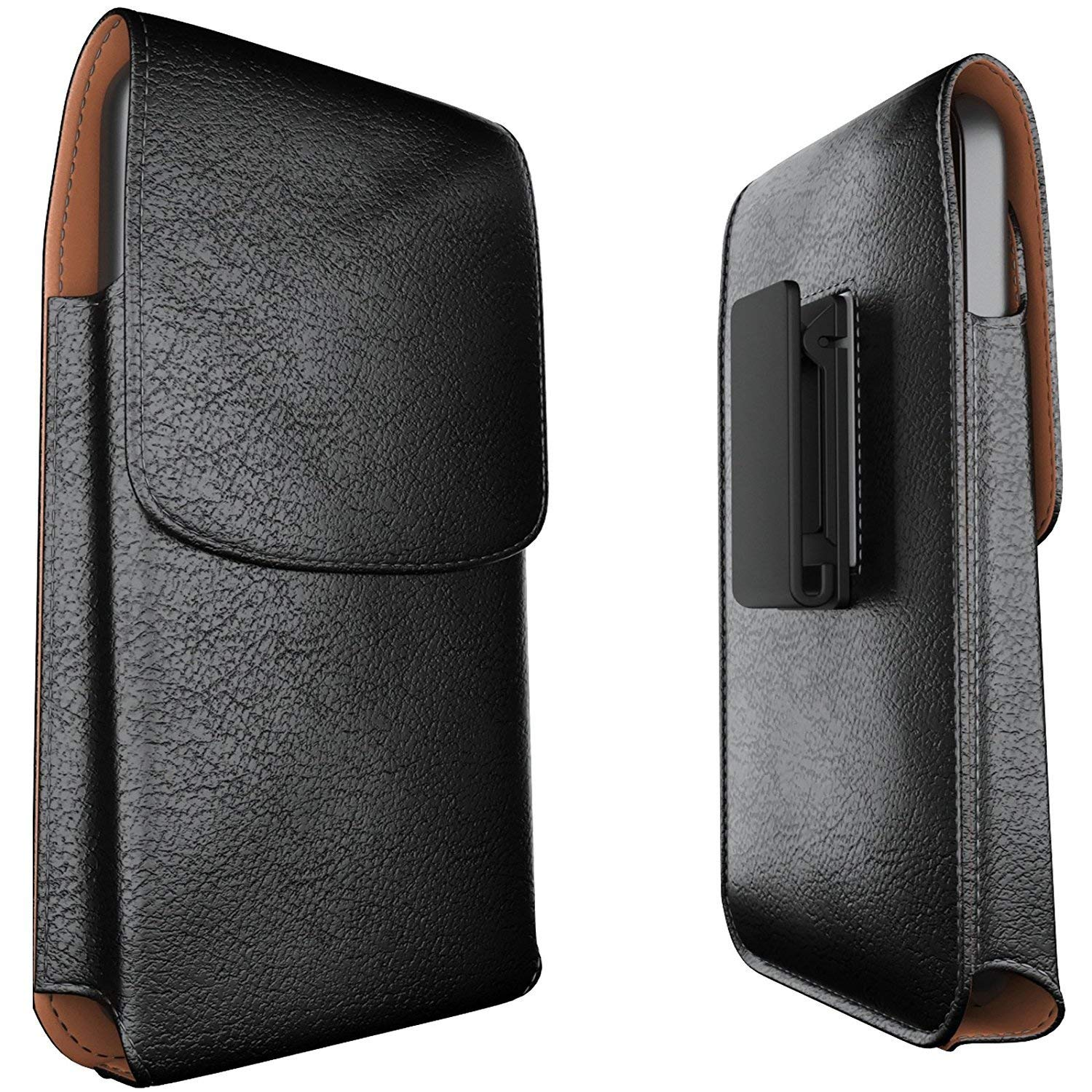 Meilib Galaxy Note 8 Belt Case Note 9 Belt Clip Case - Leather Pouch Belt Holster Case with Clip for Samsung Galaxy Note 9 / Note 8 (Fits Phone w/Slim Cover Case on) Black