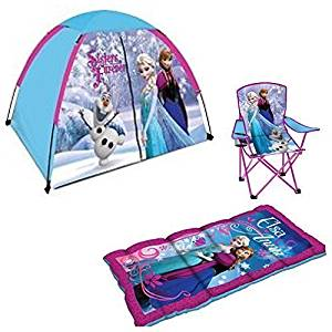 Disney Frozen Kids Camp Kit Play Set - Dome Tent, Sleeping Bag & Folding Chair with Carry Bag