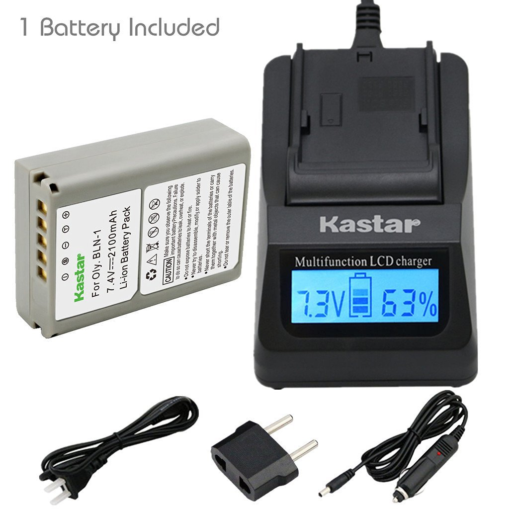 Kastar Ultra Fast Charger(3X faster) Kit and Battery (1-Pack) for Olympus BLN-1, BCN-1, BLN1 and Olympus OM-D E-M1, OM-D E-M5, PEN E-P5 Digital Cameras [Over 3x faster than a normal charger with portable USB charge function]