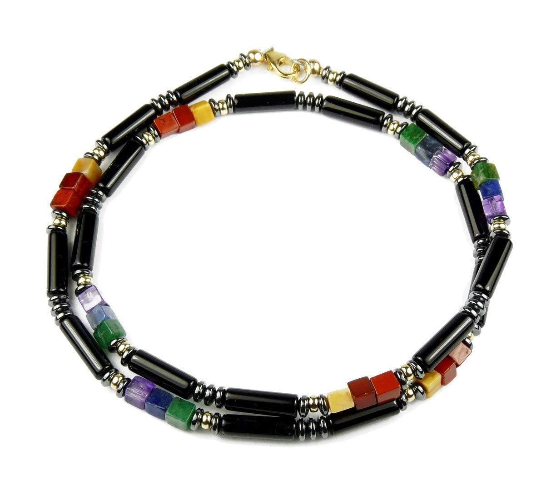 DAMALI Black Onyx Gold Filled Chakra Necklace w Onyx, Carnelian, Tigers Eye, Aventurine, Amazonite, Lapis Lazuli, Amethyst