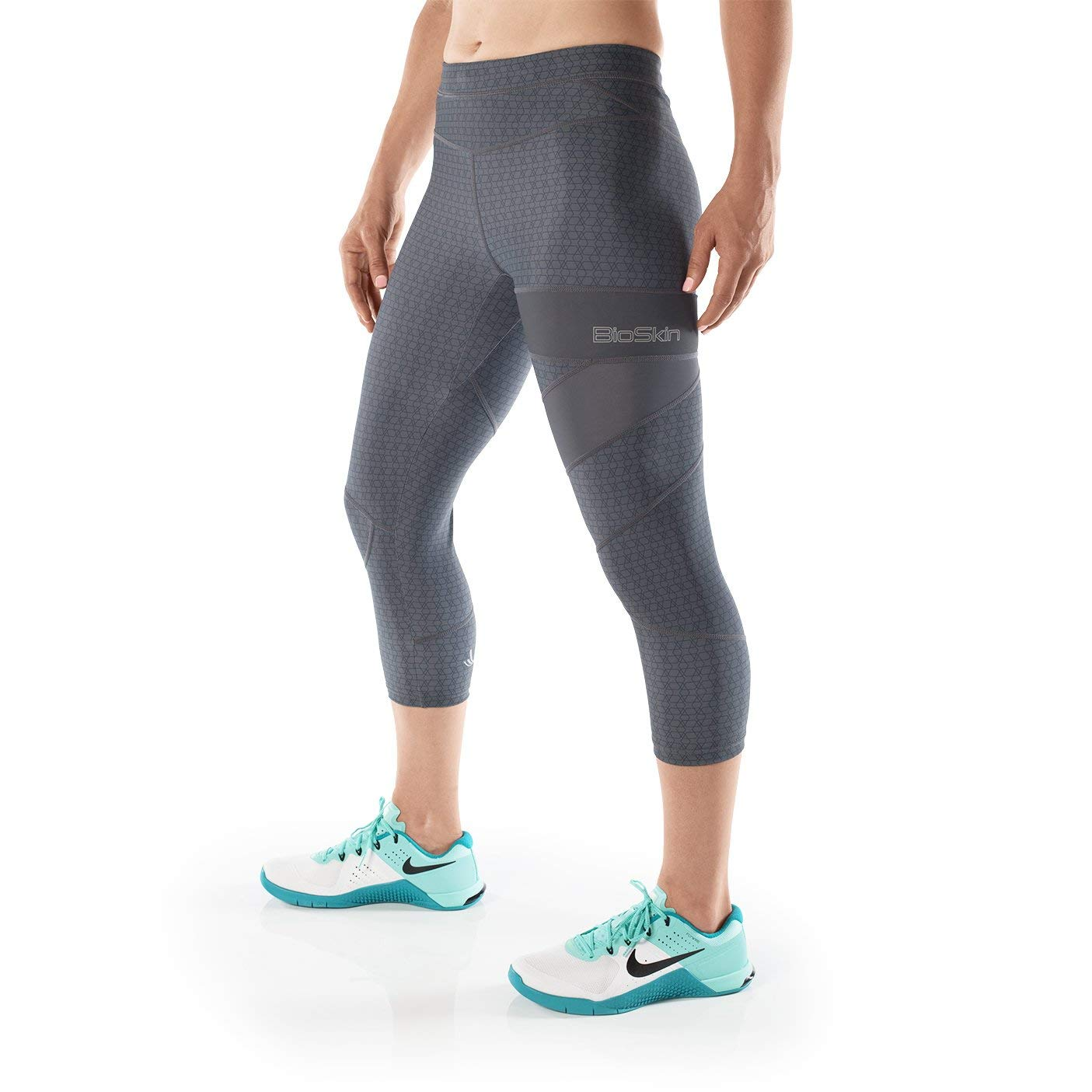 83de9fd67b747 Get Quotations · BioSkin Perfect Fit Running Compression Capris, 3/4  Leggings with Phone Pocket - Gray