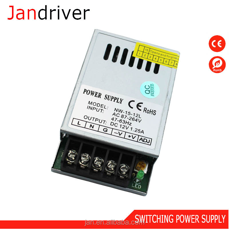 Single Output 15W 12V Power Voltage Regulator S-15-12 Led Driver 5V 12V 3A 1.25A Switching Power Supply