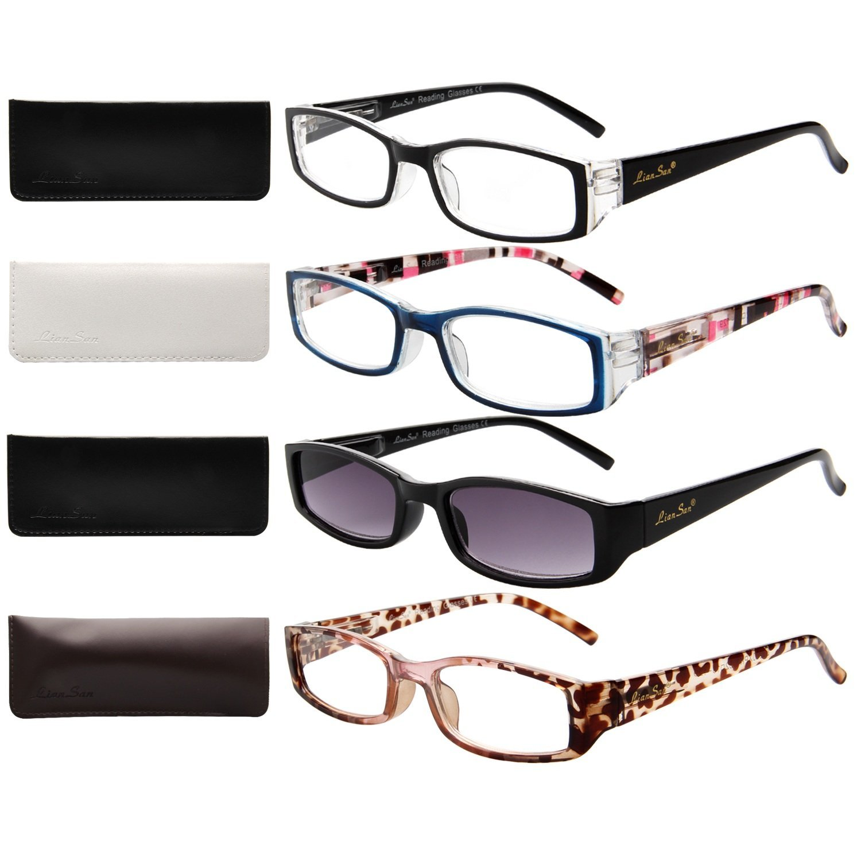 6f5b549ff6a7 Get Quotations · LianSan Ladies Designer Readers Spring Hinge Womens  Magnifying Eyeglasses with Sun Reading Glasses Lightweight Rectangular 4