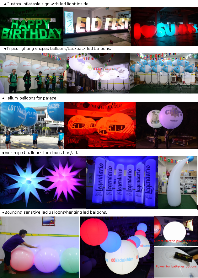 Advertising Model Printing PVC LED Lighting Inflatbale Backpack Bottle Balloon