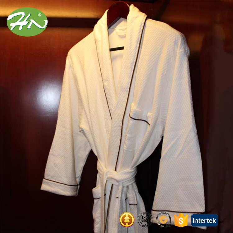 best selling men's quick dry 100% cotton fabric bathrobe and slippers for hotel