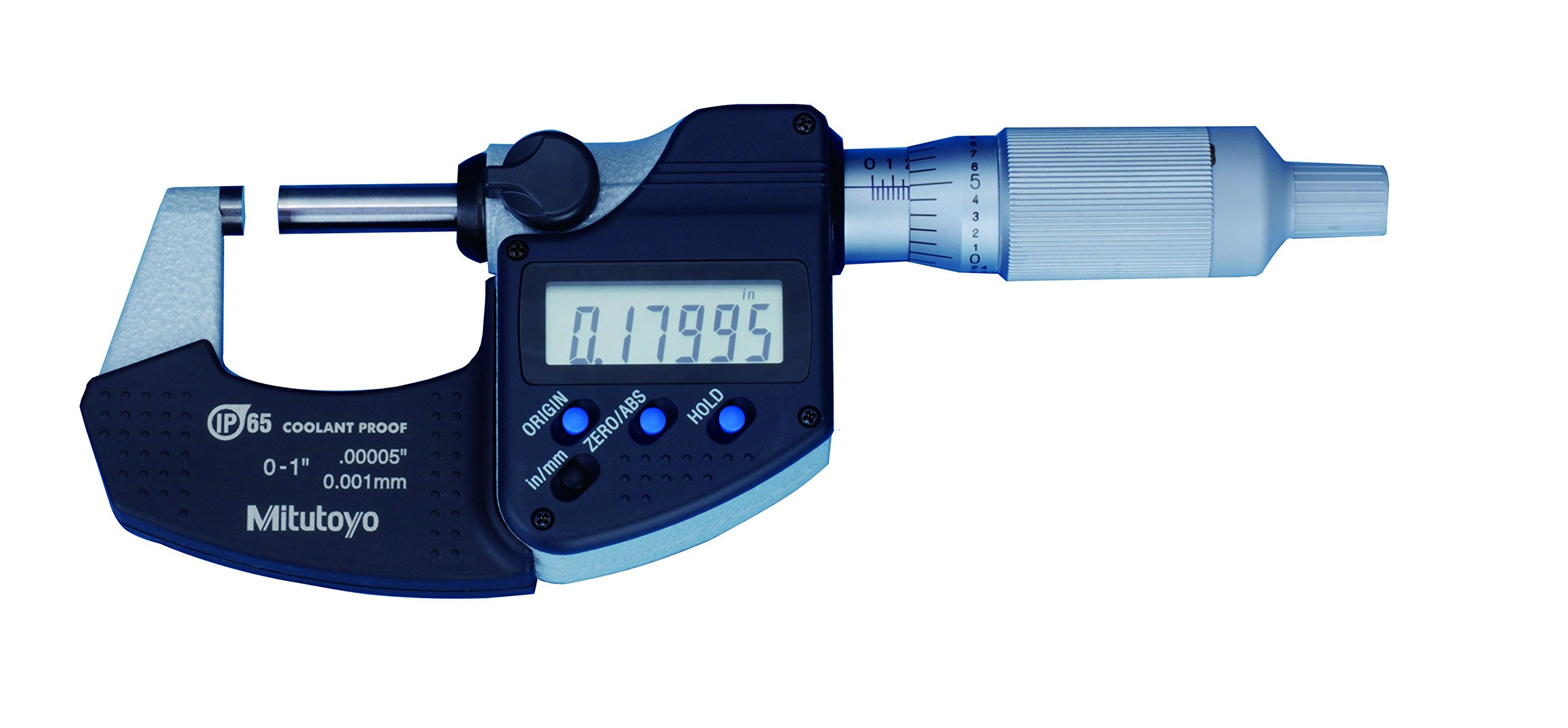"Mitutoyo 293-349-30 Digital Micrometer, 0 to 1""/25.4mm Measuring Range, 0-1"" .0001""/0.001mm Resolution, LCD, IP65 Protection"