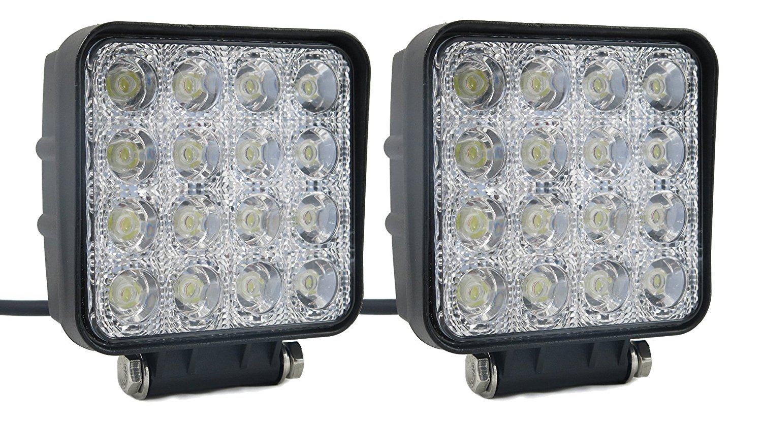 SUCOOL 2pcs one pack 4 inch square 48w led work light off road Flood lights truck lights 4x4 off road tractor jeep work lights fog lamp For Jeep Cabin/Boat/SUV/Truck/Car/ATV/automative/ 10-30V