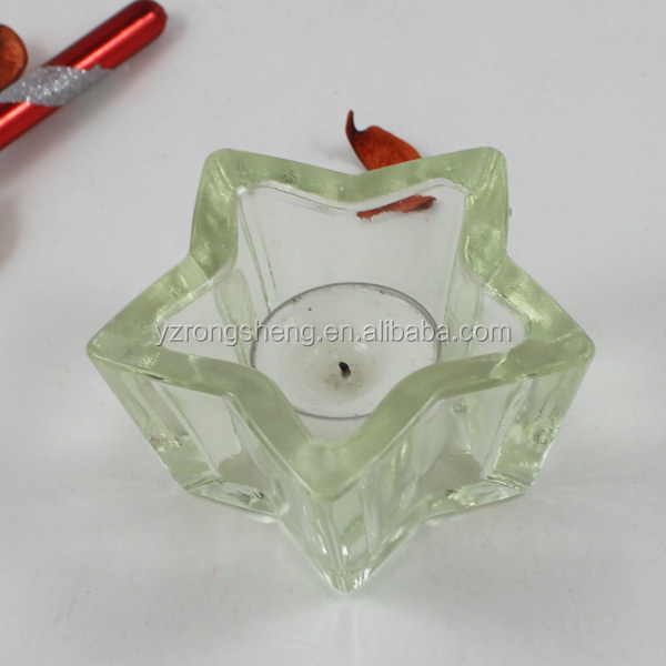 christmas home decoration star shaped thick glass candle holder