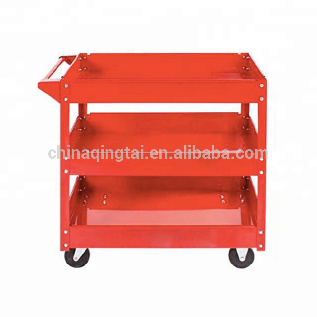 3 Tier Red Power coating Garage Tool Trolley Serving Cart
