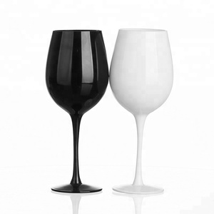 White and Black Painted Long Stem Hand Blown Cheap Wine Glass Wholesale