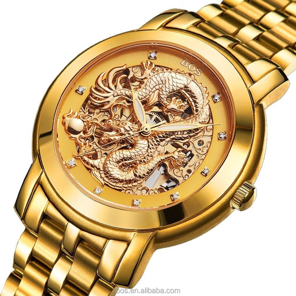 BOS Men's 'Dragon Collection' Luxury Carved Gold Dial Automatic Self Wind Mechanical Bracelet Waterproof Gold Watch Stainless