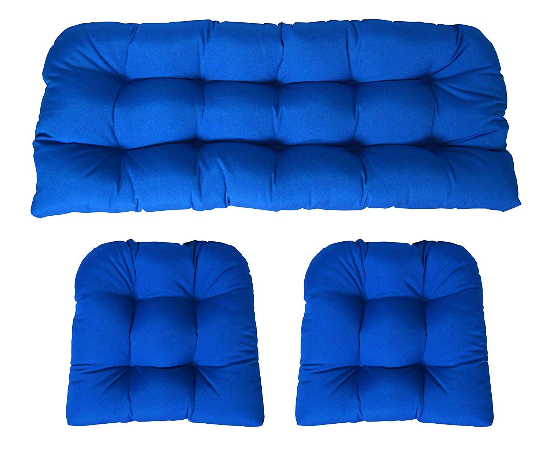 Sunbrella Canvas Pacific Blue 3 Piece Wicker Cushion Set - Indoor / Outdoor Wicker Loveseat Settee & 2 Matching Chair Cushions