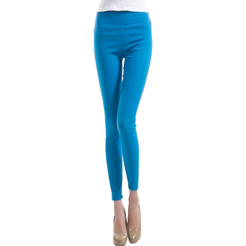2015 новое Большой размер твердых причинно фитнес женские леггинсы тонкий завышенной талией эластичные леггинсы женские брюки P007