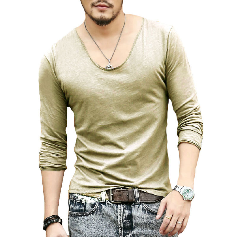 fddb550ae5d Men s Exclusive Pretty Tops Deep V Neck Long Sleeve T Shirts Stunning Cut  Off Border 2014 New Autumn Style