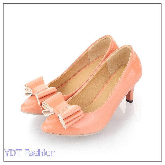 Get Quotations · Big Plus Size 34-43 Woman Shoes Small Bowtie Platform Pumps  High Heeled Shoes For fcfd889e230d
