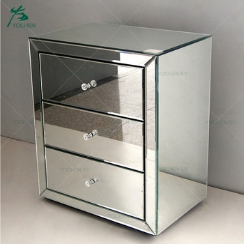 Silver Gl 3 Drawer Mirrored Bedside Table Cabinet