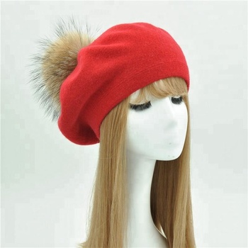 Fashion Custom Women wool Red berets artist cap Sexy Wholesale Pom Pom Red Beret