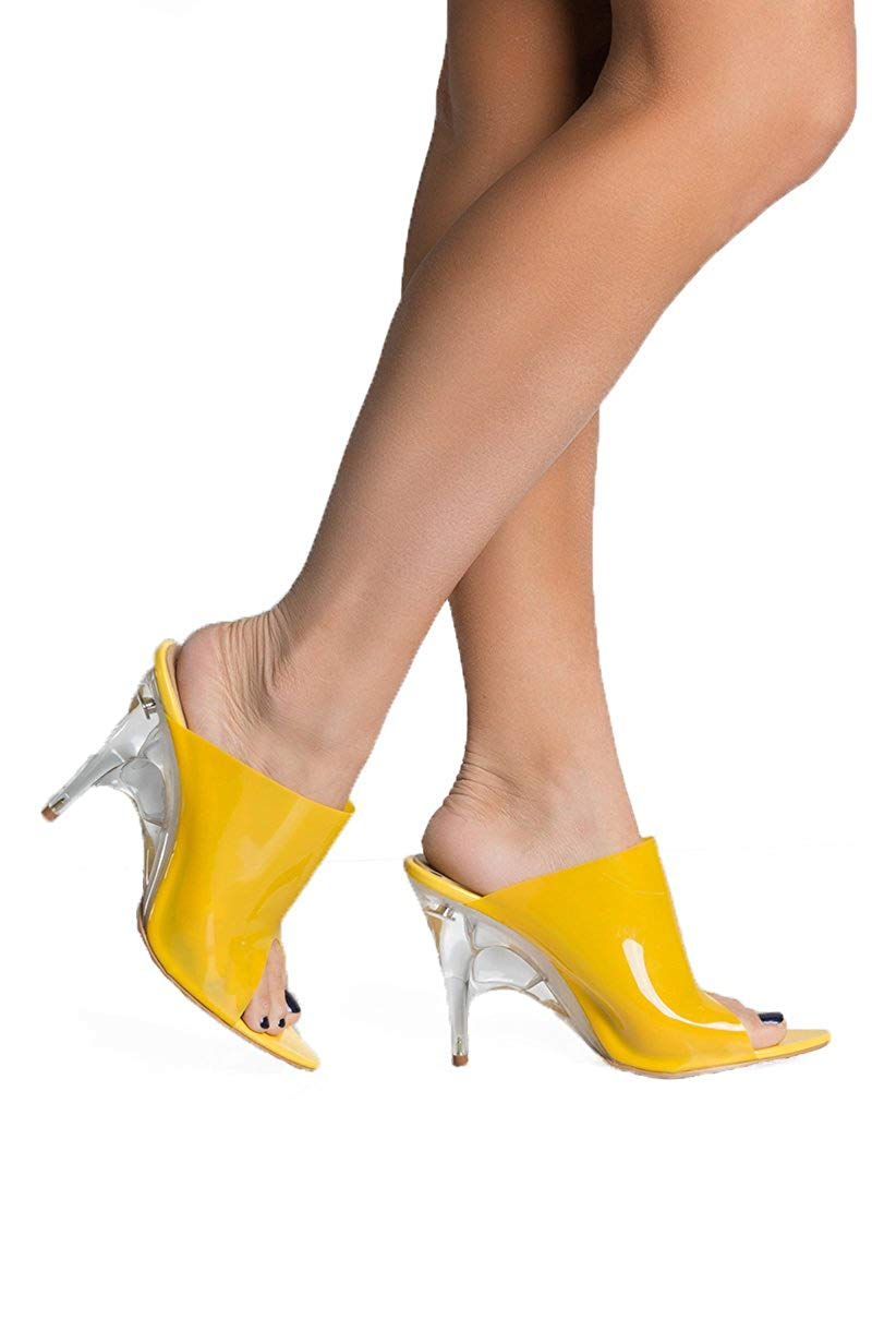 27248d4ee1a Get Quotations · AZALEA WANG Yellow PVC Perspex Lucite Heel Pointy Toe Mule  Slip On High Heel Sexy Sandals