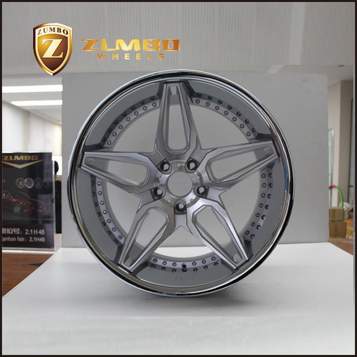 ZUMBO A0076 Silver Machine Face With Stainless Steel Lip Car Alloy Wheel Rims