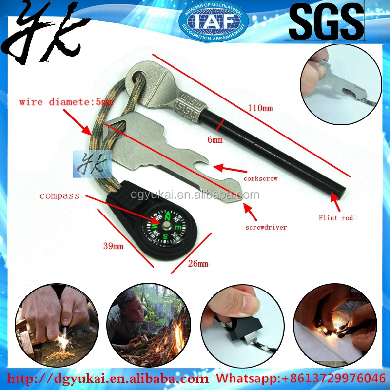 Fire Starter Multi Tool Magnesium and Steel - Flint Saw Whistle Compass