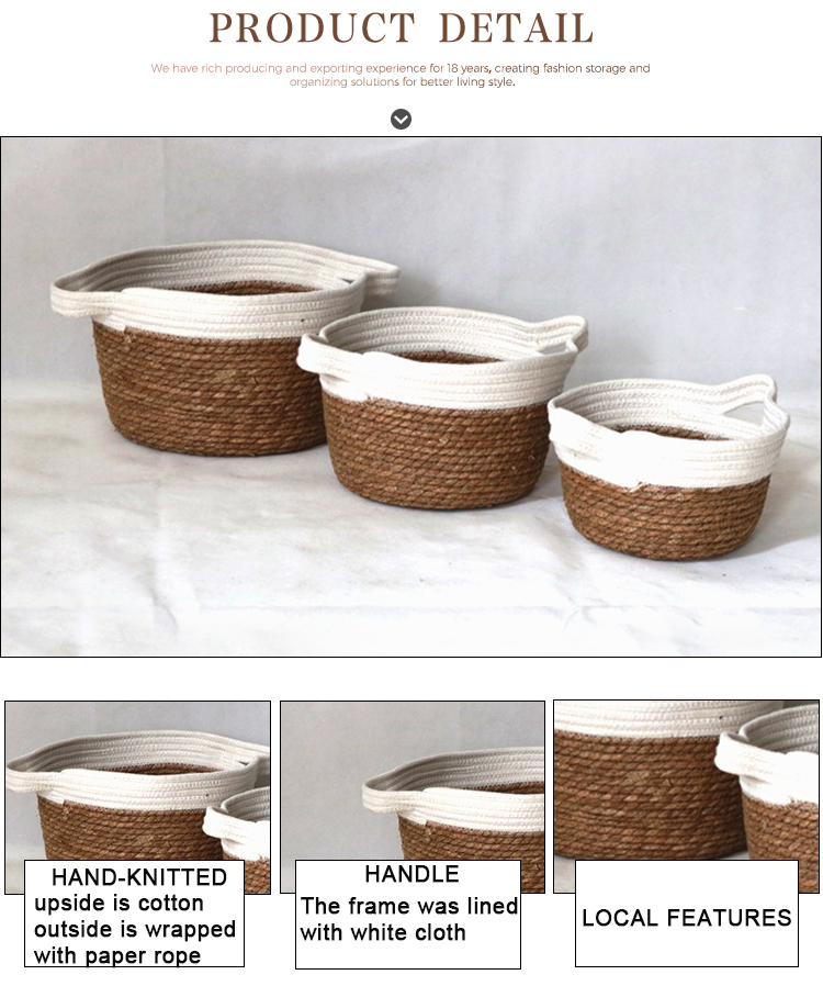 Art Crafts Cotton Rope Storage Basket With Handle