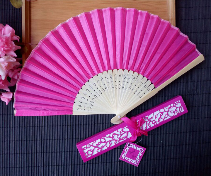 Personalized Colorful Wedding Souvenir Gift Box Folding Silk Hand Fans Wedding Decoration Wedding Favors