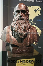 Bronze/copper /brass Charles Robert Darwin bust sculpture/statue