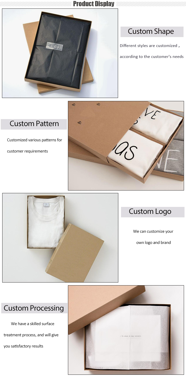 Custom Printing Apparel Clothing T-shirt Kraft Paper Packaging Boxes With Clear Lid