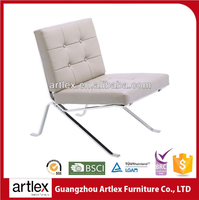Modern White Leather Chair Office Furniture Aluminum Folding Lounge Chair