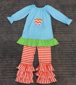 Boutique baby clothing top and pants ruffled outfits for kids,baby clothing packs