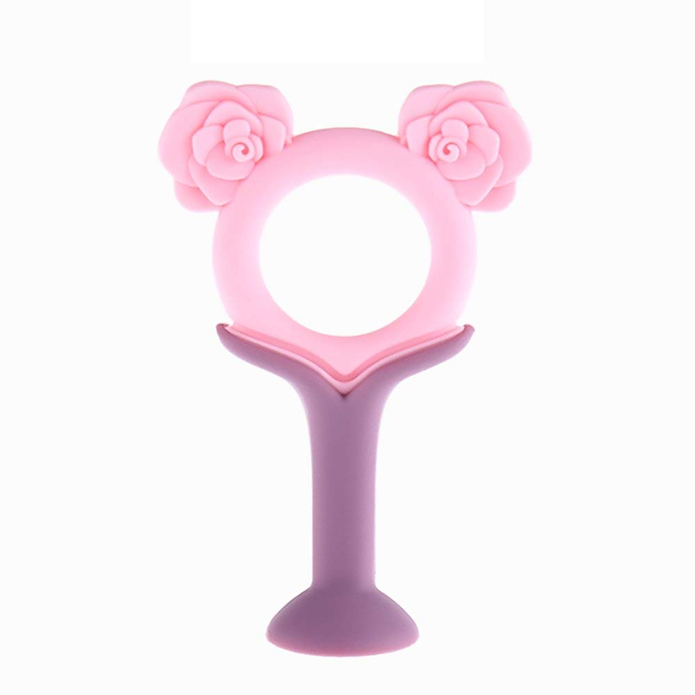 Baby Teethers Molar Stick Toys,HOBOYER Silicone Infant Toddlers Cartoon Teething Toys Soft Teeth Bite Stick Kids Chew Toys (Light Pink)