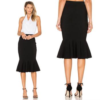 Черный Простой Русалка Юбка модная юбка миди красивая и элегантная женская  юбка 0fc85d9656f