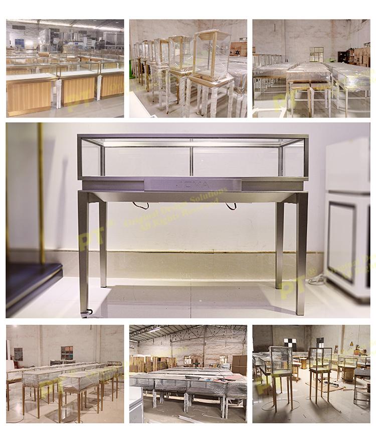 Luxury Jewellery Store Fixtures Design Metal Frame Glass Aluminium Showcase With Floor Cabinets
