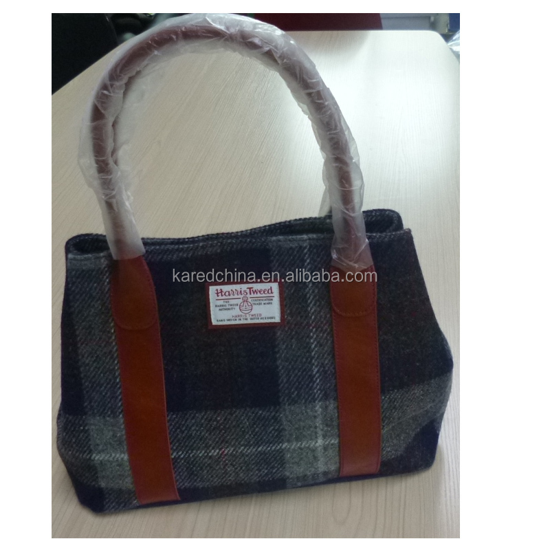 latest lady wool tweed handbag with wool felt