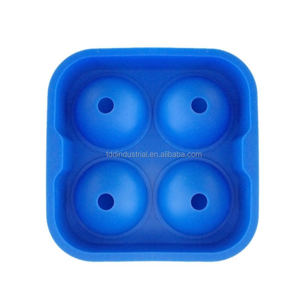Ice Ball Maker - 4 Cavities Silicone Round Ice Cube Mold Tray