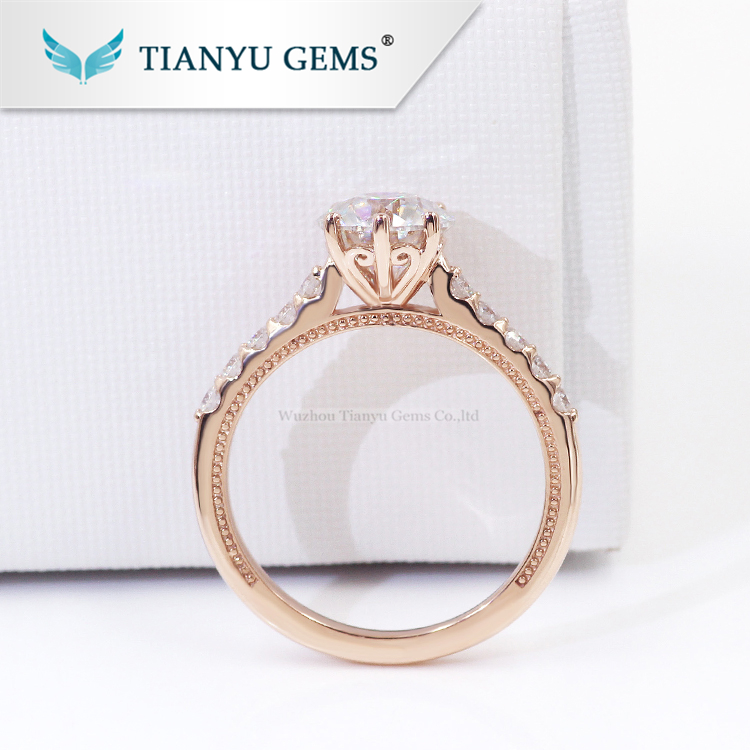 Tianyu gems old vintage milgrain rose gold OEC Round cut colorless moissanite engagement ring for lady