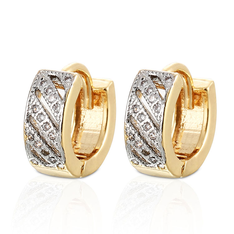 Indian Gold Earrings Designs Custom Fashion 18K Gold Plated Hoop Earrings