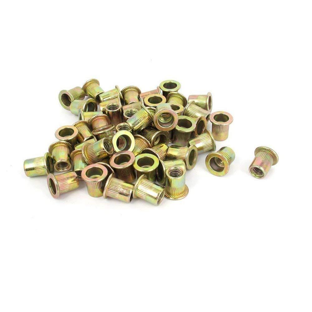 TOOGOO(R) M6x12mm Flat Head Threaded Rivet Nut Insert Nutsert Fasteners 50 Pcs