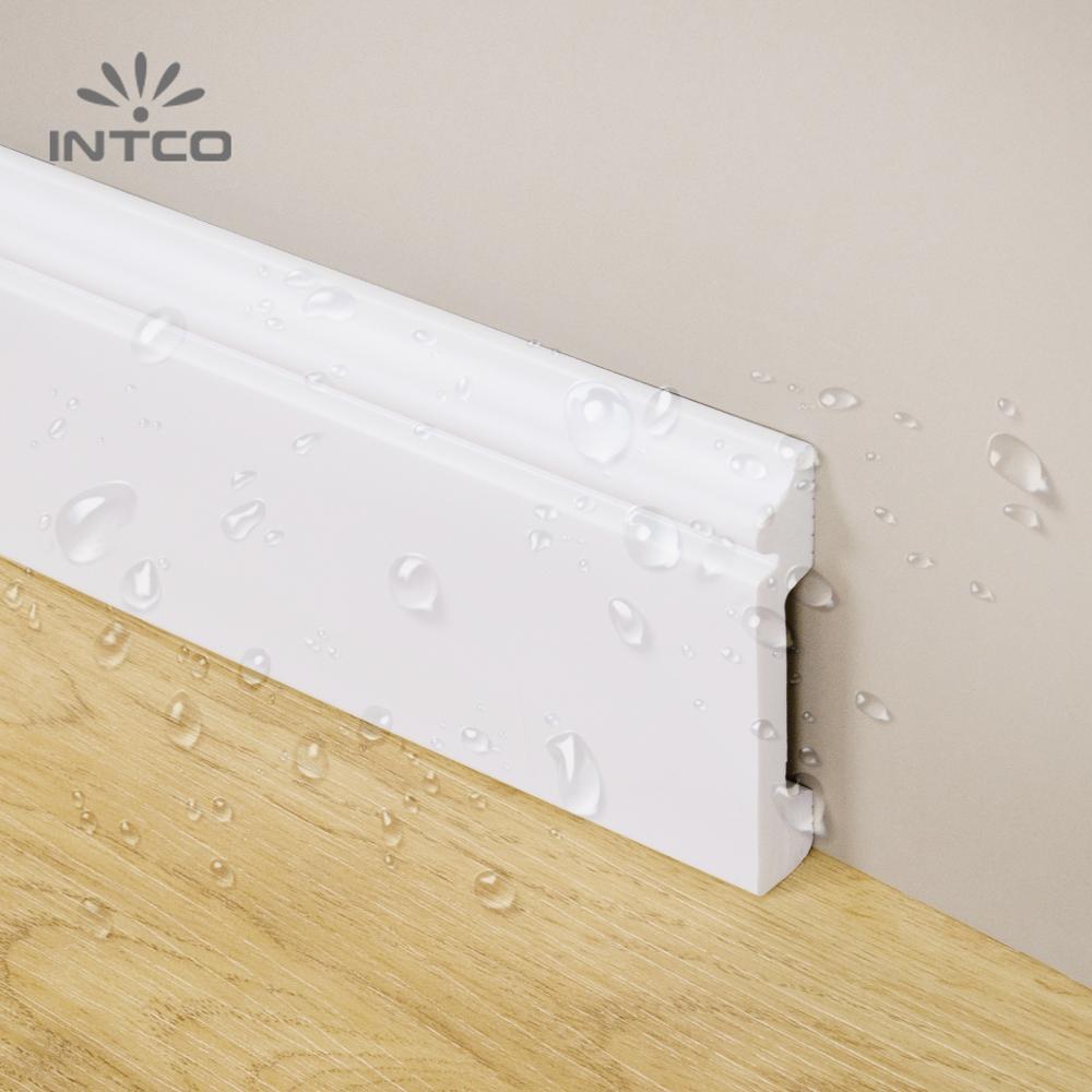 Intco Easy Install Decorative Waterproof White Plastic Baseboard Skirting Board Cornice Moulding