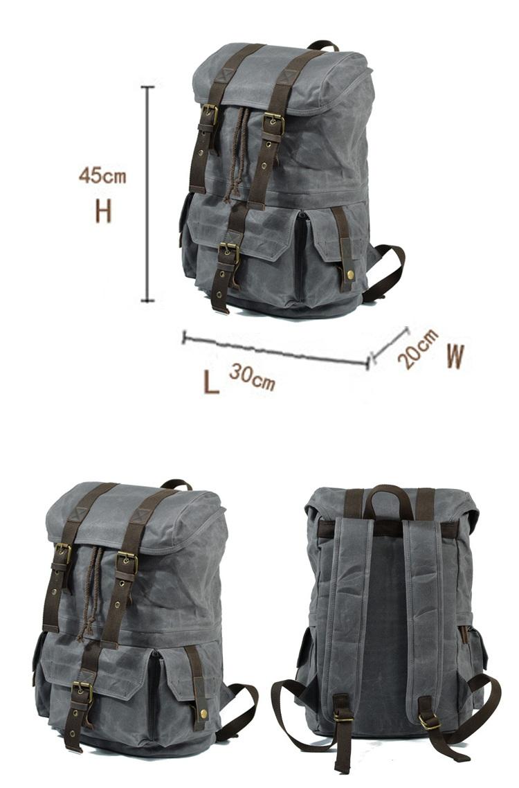 Day brand design vintage retro fancy mens waterproof waxed canvas backpack rucksack satchel bag