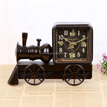 Vintage Desk Clock Home Decor Retro Train Shaped Metal Clock